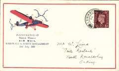 (GB Internal) Scottish Airways F/F KIrkwall to North Ronaldshay, bs 31/7, Orkney Herald Type I souvenir cover with printed 'Inauguration of/Thrice Weekly/Air Mail/Kirkwall to North Ronaldshay/31st July 1939' with red and blue plane, franked 1 1/2d canc Kirkwall cds, yellow/black/white propaganda label verso, 50 flown each way.