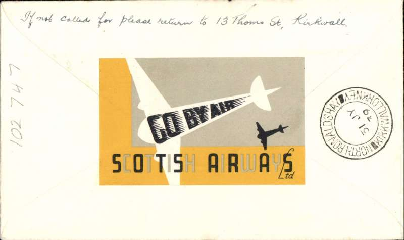 (GB Internal) Scottish Airways F/F KIrkwall to North Ronaldshay, bs 31/7, RARE Orkney Herald Type I souvenir cover with red plane but with blue fuselage and blue clouds missing, franked 1 1/2d canc Kirkwall cds, yellow/black/white Scottish Airways propaganda label verso. The missing blue fuselage and clouds is a variety, only have been recorded, see Redgrove p134.