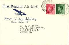 (GB Internal) Scottish Airways, first regular flight North Ronalsdshay to Kirkwall, uncommon blue/cream Francis Field souvenir cover franked 1 1/2d, canc North Ronaldshay/Kirkwall/Orkney/31 Jly 39 cds. Francis Field authentication hs verso.
