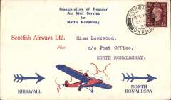 (GB Internal) Scottish Airways F/F KIrkwall to North Ronaldshay, bs 31/7, attractive and uncommon 'Lockwood' red/white/blue souvenir cover with printed 'Inauguration of Regular/Air Mail Service/for/North Ronaldshay' and high winged plane in clouds, franked 1 1/2d canc Kirkwall cds. Believed 30 flown each way.
