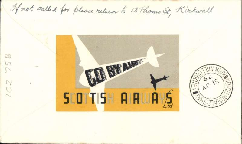 (GB Internal) Scottish Airways F/F KIrkwall to North Ronaldshay, bs 31/7, Orkney Herald 'pale red plane' Type II souvenir cover with printed 'Inauguration of/Thrice Weekly/Air Mail/Kirkwall/to/Ronaldshay/31st July 1939' and 'The Orkney Herald' text below with pale red plane, franked 1 1/2d canc Kirkwall cds, yellow/black/white Scottish Airways propaganda label verso, 30 flown each way. The pale red is a variety, only 3 exist, see Redgrove p134.