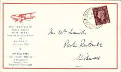 (GB Internal) Scottish Airways F/F North Ronaldshay to Kirkwall, bs 31/7, Orkney Herald Type II souvenir cover with printed 'Inauguration of/Thrice Weekly/Air Mail/North Ronaldshay/to/Kirkwall/31st July 1939' and 'The Orkney Herald' text below with red plane, franked 1 1/2d canc North Ronaldshay cds, 30 flown each way.