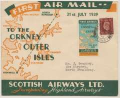 (GB Internal) Scottish Airways, first regular flight North Ronalsdshay to Kirkwall, an extremely rare special 'To The Orkneys/Outer Isles/Scottish Airways Ltd' souvenir envelope in fine condition bearing a highly decorative design printed in deep green and orange franked 1 1/2d canc Kirkwall/Orkney cds and tying an equally rare sticker  printed in pale blue/deep green/ orange showing a map of the route of route. Only five such covers are known.