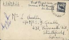 "(Papua and New Guinea) F/F Qantas Catalina flying boat service, Samarai to Port Moresby, cover franked 5 1/2d, canc Port Moresby cds, day, month and year largely illegible, ms ""First Flght cover/Samarai to Port Moresby/Air service"", signed by the pilot Captain Hugh M. Birch. Hugh Milton ?Smokey? Birch DFC was the first pilot to inaugurate Qantas flying boat flights throughout the Pacific and he also pioneered the Catalina flying boat service from Sydney (Rose Bay) to Lord Howe Island."