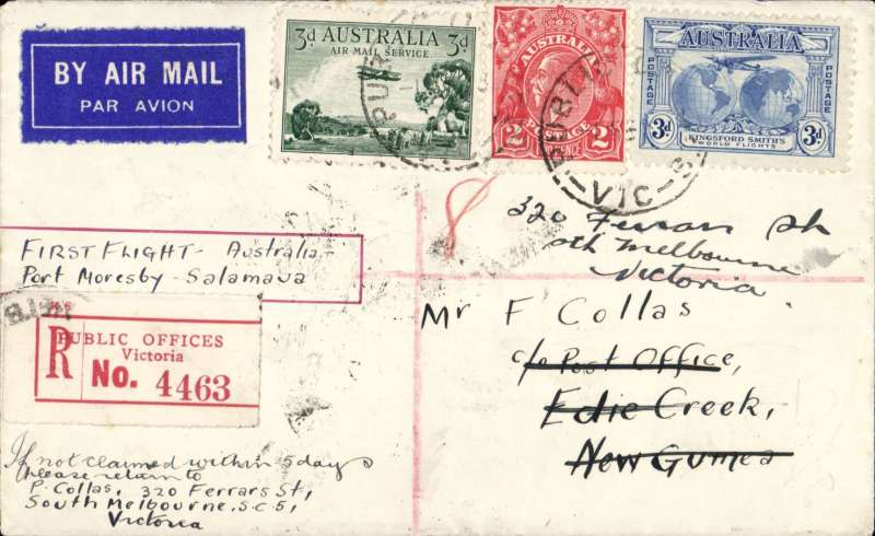 (Australia) First acceptance of Australian mail for PNG for carriage over the the Papua and New Guinea Air Service, Melbourne-Brisbane-Port Moresby-Salamau, registered label cover franked Australia 3d air, 3d and 2d, canc Public Offices Victoria 1 Feb, Melbourne 1/2, Edie Creek PNG 13/2 and bs Salamau 16/2. Carried to Port Moresby on the mail boat Macdui' which left Brisbane on 4/2, then flown by Orme Denny in a Guinea Airways  Junkers F13 to Salamau and on to Wau and Bulolo. Great routing, AAMC P56.
