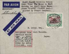"(Papua and New Guinea) Oroville to Port Moresby, postmarked on arrival 25 Oct 35, imprint etiquette cover franked 1930 3d air opt., typed ""First Flight Oroville Police/ Camp, Upper Fly river to Port /Moresby per Short Scion mono/plane 'G-ACUX'/piloted by Stuart Campbell""Pershore see on monoplane piloted by Stuart Campbell, also ""Dispatch from Oroville Police Camp confirmed by 'ms' Cecil Connolly a/A.R.M. O.I.C.UPPER FLY RIVER 23rd October 1935"", Signed by the pilot Stuart Campbell. AAMC P91 $350. A nice item in fine condition."