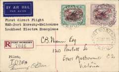 (Papua and New Guinea) Guinea Airways Lockheed Electra special charter flight to the Melbourne  Cup, (Wau)-Port Moresby-Melbourne, bs 30/10, registered (label) cover franked 1930 3d and 6d air opt, canc Port Moresby 28 Oct 36, typed 'First Direct Flight/Wau-Port Moresby-Melbourne/ Lockheed Electra monoplane, signed by the pilot Tommy O'Dea. Also B&W photograph of mail bags being loaded into the Lockheed.