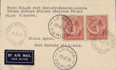 "(Papua and New Guinea) Guinea Airways Stinson 'Reliant' seaplane, F/F Port Moresby-Samarai-Losuia, 29 JE 38 arrival cds on front, airmail eiquette cover franked 2d x2, canc Port Moresby 29 JE 38, typed "" First Flight Port Moresby-Samarai-Losuia/Guinea Airways Stinson Seaplane VH-ABJ/pilot K. Garden"". AAMC P136 $250."