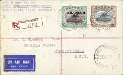 "(Papua and New Guinea) First land plane solo flight from New Guinea to Australia, Port Moresby to Townsville, b/s 13/4, registered (label) cover franked 5d and 3d air , canc Port Moresby 29 MR 34, typed ""Per First Flight/Port Moresby/Townsville/Per VH-UGI Pilot Marshall"", AAMC P69 $250."