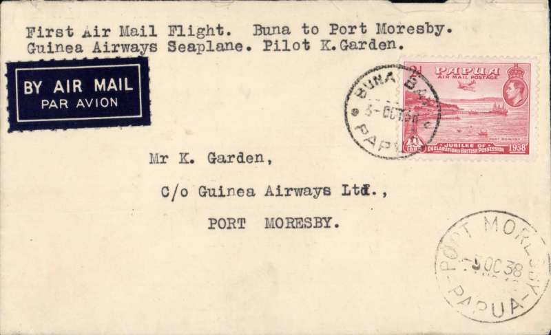 (Papua and New Guinea) Guinea Airways Stinson 'Reliant' seaplane having force landed at Buna Bay uplifted a small mail for Port Moresby, airmail etiquette cover franked 2d, canc Buna Bay 3 Oct 38 cds, Port Moresby 3 Oct 33 arrival ds on front, typed 'First Air Mail Flight, Buna to Port Moresby/Guinea Airways Seaplane, Pilot K.Garden. AAMC P139 $325.