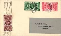 (GB Internal) Rare Whoopee Sports Ltd, Experimental Flight Plymouth to Jersey, plain cover franked GB Silver Jubilee 1/2d, 1d, and 1 1/2d, flown from Plymouth at 3am on 28/6 to Jersey where, on arrival  it was re-posted to a Jersey address (The Royal Yacht Hotel, Jersey) and cancelled with a 'Jersey/4.15pm/28 Jun 1935'  machine postmark. A true gem in fine condition. For a detailed description of this cover, see Redgrove p99.