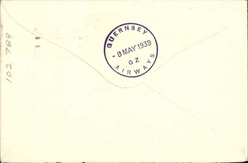 (Channel Islands) Guernsey Airways, F/F Southampton to Guernsey, bs 8/5, plain cover franked 1 1/2d, rectangular violet Company cachet.