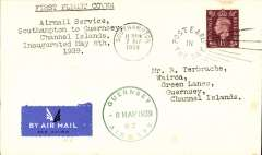 "(Channel Islands) Guernsey Airways, F/F Southampton to Guernsey, 8/5, plain cover franked 1 1/2d,  typed five line ""Airmail Service/Southampton to Guernsey/Channel Islands/inaugurated May 8th/1939"", green circular ""Guernsey Airways 8 May 1939"" Type 5 receiver on front.."