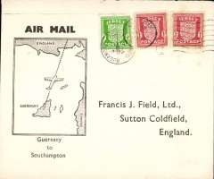 (Channel Islands) F/F resumed service, Guernsey to Southampton, souvenir cover franked Channel Island wartime issues. Flown by Channel Islands Airways Ltd created by an amalgamation of Guernsey AW and Jersey AW.
