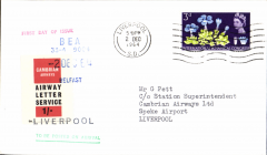 (GB Internal) Cambrian Airways Ltd, first day of service authorised by GPO to use Air Letter labels, Belfast to Liverpool,  POA 2 Dec 1964, cover bearing a one shilling Air Letter stamp handstamped with the Cambrian Airways departure cachet in blue.