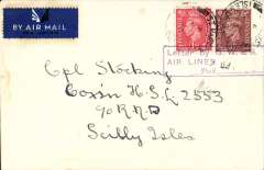 """(GB Internal) Great Western and Southern Airlines, introduction of wartime Penzance-Scilly Isle airmail sevice, flown cover from Penzance to Scilly Isles at the 4d rate, plain cover franked 2 1/2d , cancelled Scilly Isles cds applied on arrival, violet framed """"Letter by GW & SR/Airlines/Paid (ms 4d) """" to denote payment of airmail charge. The service was introduced to cope with the influx of service personnel to the islands. See Lister P., p7."""