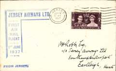"""(GB Internal) Jersey Airways Ltd, F/F Jersey to Southampton, plain cover franked 1d canc Jersey cds, blue angular Jersey F/F sender cachet on front ,also blue st. line  """"From Jersey"""" hs."""