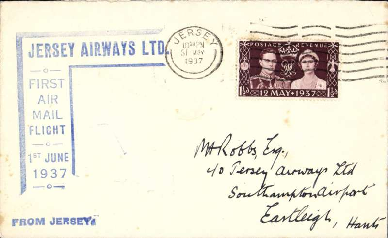 "(GB Internal) Jersey Airways Ltd, F/F Jersey to Southampton, plain cover franked 1d canc Jersey cds, blue angular Jersey F/F sender cachet on front ,also blue st. line  ""From Jersey"" hs."