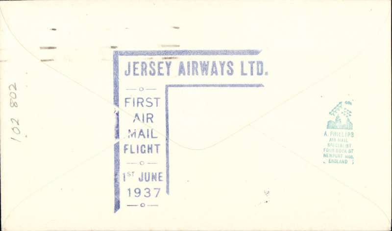 """(GB Internal) Jersey Airways Ltd, F/F Southampton to Jersey, plain cover franked 1d canc Southampton cds, violet angular Jersey F/F sender cachet on front , violet st. line  """"From Southampton"""" hs, and blue Jersey F/F receiver cachet verso."""