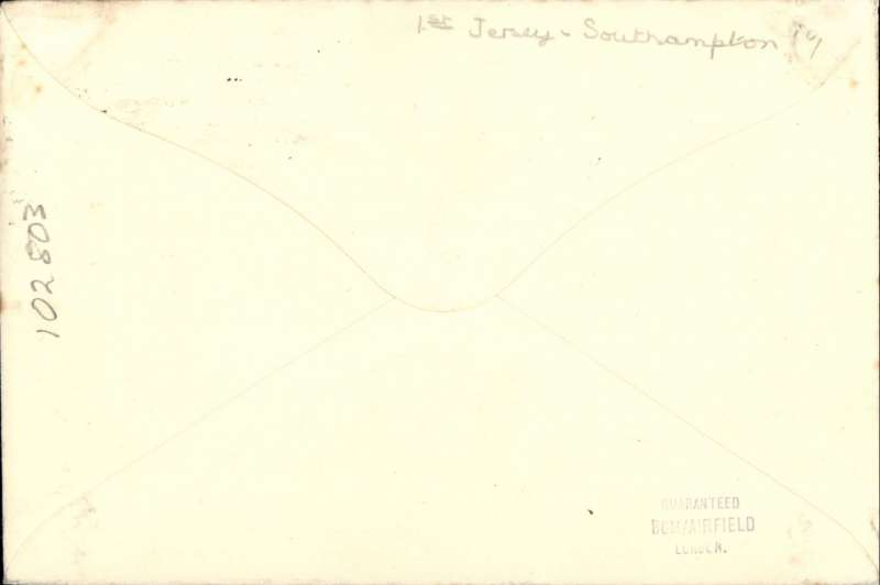 (GB Internal) Jersey Airways Ltd, F/F Jersey to Southampton to Jersey, plain cover franked 1d canc Jersey cds, violet angular Jersey F/F sender cachet on front , and blue Jersey F/F receiver cachet verso.
