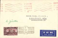 (GB Internal) Cover flown on Zucker's first trial rocket flight on the Sussex Downs, bearing brown 1934 Apex vignette overprinted red for the rocket post, hand stamped with the trial firing cachet in black, red machine postmark  Brighton 6 June 1934. Signed by Gerhard Zucker.