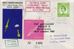 (GB Internal) First International Conference of the Institute of Nuclear Engineers, cover carried in the rocket 'Grillo' bearing bearing various cachets postmarked Brighton 6th April 1965, also bears a pink cachet confirming it was also flown in Italy during the period 10-17 October 1965.