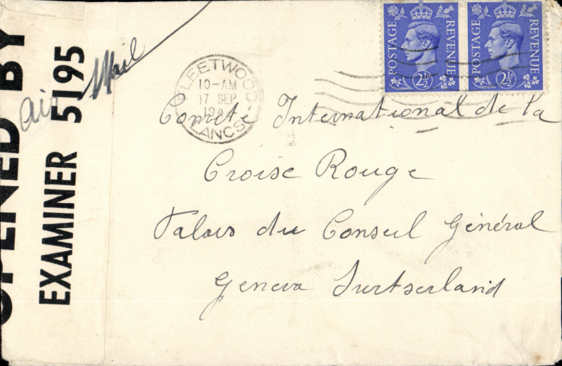 (GB External) The Red Cross Postal Message Scheme. Cover send to Geneva from London, franked 5d, ms ' Red Cross Postal Message Scheme' and 'Air Mail', opened by censor and dealt with in accordance with the March 1941 Post Office Notice. Under arrangements made by the British Red Cross Society and The Order of St John brief messages could be sent by relatives to persons residing in Enemy Territory. The messages we're limited to 20 words and had to relate to only to family matters.
