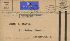 (GB Internal) Railway Air Services, F/F Cowes to Liverpool, arrival cds 22rd August 1934, business postage paid envelope  unfranked 'Postage /will be/paid by/Addressee'. The business reply paid envelope is unusual, only a few were flown.
