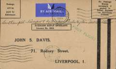 (GB Internal) Railway Air Services, F/F Southampton to Liverpool, arrival cds 22nd August 1934 on front, business postage paid envelope unfranked 'Postage /will be/paid by/Addressee'. The business reply paid envelope is unusual, only a few were flown.