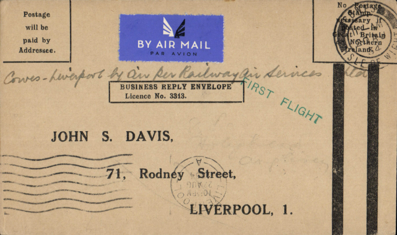 (GB Internal) Railway Air Services, F/F Cardiff to Liverpool, bs 21/8, business postage paid envelope  unfranked 'Postage /will be/paid by/Addressee', green 'First Flight' cachet The business reply paid envelope is unusual, only a few were flown.