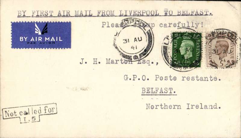 (GB Internal) Railway Air Services, inauguration of new service from Liverpool to Belfast, bs 2/9, plain cover franked 5 1/2d to include air fee of  3d and inland postage of 2 1/2d, Airmail from Northern Ireland gave no advantage over surface mail.