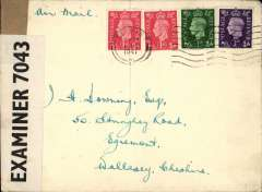 (GB Internal) Railway Air Services, inauguration of new service from Belfast to Liverpool, plain cover franked 5 1/2d to include air fee of  3d and inland postage of 2 1/2d, censored under wartime restrictions.  Airmail from Northern Ireland gave no advantage over surface mail. Ironed vertical crease.