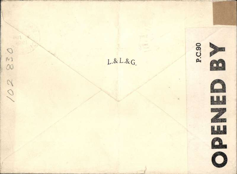 (GB Internal) Railway Air Services, inauguration of new service from Liverpool to Belfast, plain cover franked 5 1/2d to include air fee of  3d and inland postage of 2 1/2d, censored under wartime restrictions.  Airmail from Northern Ireland gave no advantage over surface mail. Ironed vertical crease.
