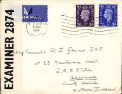 (GB Internal) Railway Air Services, inauguration of a new service from Liverpool to Belfast, plain cover franked 5 1/2d to include air fee of  3d and inland postage of 2 1/2d, censored under wartime restrictions.  Airmail from Northern Ireland gave no advantage over surface mail.