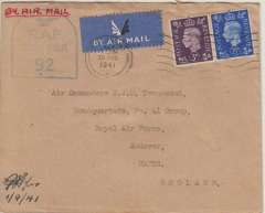 (GB Internal) Railway Air Services, F/F Belfast to Liverpool, plain cover franked 5 1/2d, RAF sensor hand stamps applied applied and verso shows the RAF Headquarters 41 Group Registry receipt  stamp with a signature acknowledging receipt.