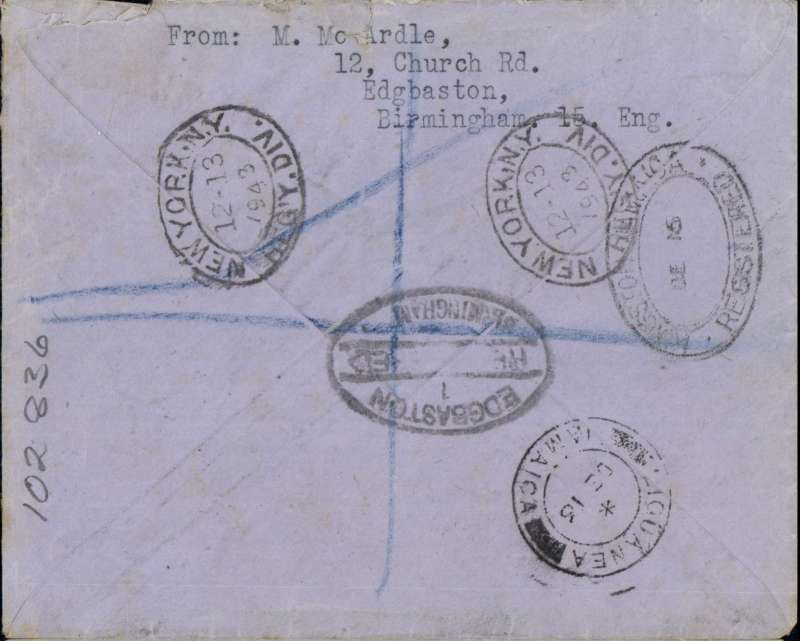 (GB External) Emergency Air Mail cachet, England to Jamaica, Birmingham to Liguania, bs 1612 via New York 1312 and Kingston 1612, World War II uncensored registered (label) cover franked 2/- tied by Birmingham oval registered cancellation, date unclear, bears fine strike off the Birmingham emergency violet framed 'Air Mail' cachet which was used  by the B'ham head post office when all their air mail labels had been sold out.
