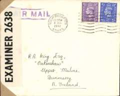 (GB Internal) Railway Air Service, Wolverhampton to Dunmurry, Northern Ireland, WWII censored cover franked 3d air mail and 2 1/2d inland postage  cancelled Wolverhampton cds, good strike  of the Wolverhampton emergency air mail cachet which was used  by the Wolverhampton head post office when all their air mail labels had been sold out.