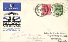(GB Internal) Railway Air Services, Bristol to Liverpool via Birmingham, Liverpool arrival cds on front, official souvenir cover franked 1 1/2d canc Bristol cds, flown on the last day of the last flight stage from Birmingham to Liverpool,  comma violet two line 'Last Flight /Sept 29th .