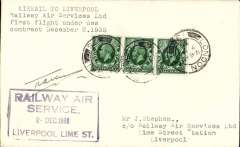 """(GB Internal) F/F New RAS Contract following the expiry of the Hillman AW contract, first flight London to Liverpool, plain cover, franked 1 1/2d, addressed to the Company offices, and bearing the Company's violet framed """"Railway Air/ Service/ 2 Dec 1935/Liverpool Lime Street"""" receiving cachet.  Signed by pilot Capt Allen."""