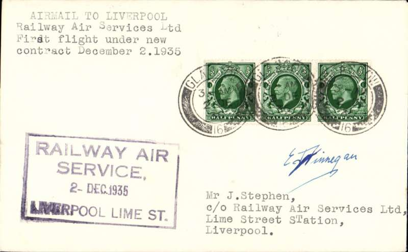(GB Internal) F/F New RAS Contract following the expiry of the Hillman AW contract, first flight Glasgow to Liverpool, plain cover, franked 1 1/2d, bearing the Company's receiving cachet applied at Lime Street Station.  Signed by pilot Capt E.F.Finnegan.