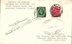 (GB Internal) F/F New RAS Contract following the expiry of the Hillman AW contract, first flight Belfast to Glasgow, plain cover, franked 1 1/2d, addressed to the Company offices, and bearing the Company's violet oval receiving cachet applied at Glasgow..  Signed by pilot Capt Allen.