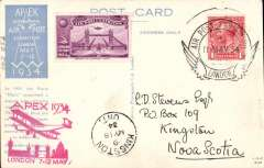 (GB Internal) London International Air Post Exhibition 1934, souvenir postcard depicting the Paris Matin Pigeon Post, postmarked 8th May 1934 special Expo cancellation, mauve vignette, red Apex cachet, sent by air to Nova Scotia, KIngston 158/5 arrival ds on front.. Fine item to uncommon destination.