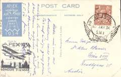 (GB Internal) London International Air Post Exhibition 1934, souvenir postcard depicting postcard flown in Australia by Capt. H Butler, postmarked 10th May 1934 special Expo cancellation, black Apex cachet, sent by air to Austria.