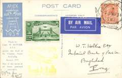 (GB Internal) London International Air Post Exhibition 1934, souvenir postcard depicting postcard flown in Australia by Capt. H Butler, postmarked 7th May 1934 special Expo cancellation tying blue/white 'Par Avion' etiquette, green vignette, yellow Apex cachet, sent by air to Iraq.