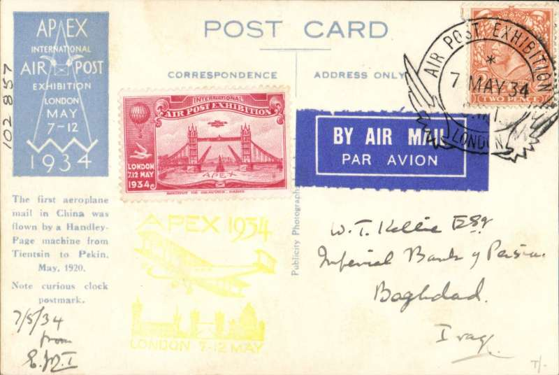 (GB Internal) London International Air Post Exhibition 1934, souvenir postcard depicting the first Chinese air mail, postmarked 7th May 1934 special Expo cancellation, bearing carmine vignette and yellow Apex cachet, sent by air to Iraq.