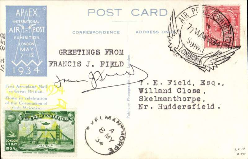 (GB Internal) London International Air Post Exhibition 1934, souvenir postcard depicting postcard Ariel Post Box Closed Design, postmarked 7th May 1934 special Expo cancellation, green vignette, yellow Apex cachet, sent to Huddersfield, 8/5 arrival ds on front, signed by Francis J. Field.