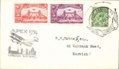 (GB Internal) London International Air Post Exhibition 1934, cover addressed to Norwich, postmarked 10th May 1934 special Expo cancellation, vermilion and mauve vignette, black Apex cachet.