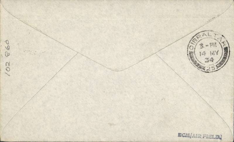 (GB Internal) London International Air Post Exhibition 1934, imprint etiquette airmail cover franked 4d, canc special Expo postmark, brown Apex cachet, flown to Gibraltar, bs 14/5. Francis Field authentication hs verso.