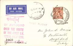 (GB Internal) London International Air Post Exhibition 1934, special souvenir card addressed to Iraq, with imprint vignette, blue/black Autogiro label, red Apex cachet and picture of Autogiro G-ACIN flown by Autogiro from Windsor to London on one side, and with the special Expo postmark May 8, 1934, red five line 'By Autogiro/Over The Route/of the First UK/Aerial Post 1911', signed by John S Davis on the other. Flown on to Iraq, Baghadad 15 May 34 arrival ds on the front.