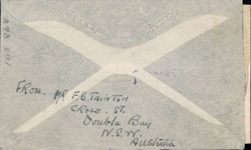 (Australia) Wartime airmail, 'air all the way' Australia to Canada, Pacific Clipper services up to the attack on Pearl Harbour, Double Bay/NSW to Ottawa, censored imprint etiquette air cover franked 2/-, 1/6d and 5d, canc double Bay cds, ms NZ-USA-Canada, violet two line 'California Clipper' hs, sealed red/white Australian OBC censor tape, violet two line 'Passed By/Censor/S.103 (Sydney) hs. Correctly rated 3/11d for the Pacific 'all air' service to CANADA, carried by TEAL to New Zealand, Pan Am FAM19 to San Francisco, then US/Canadian internal air service to Ottawa (Boyle p860). This service opened on 3/7/40 when Italy entered the war and closed Mediterranean section of the long established Empire (Kangaroo) route through Europe and across the Indian Ocean. The Pacific Clipper service ceased after the Japanese attack on Pearl Harbour on 11/12/41.